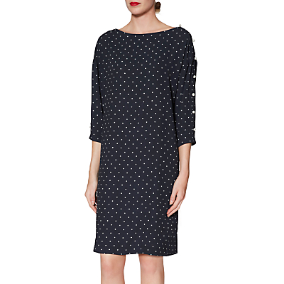 Gina Bacconi Brooke Pinspot Dress, Navy/White