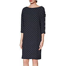 Buy Gina Bacconi Brooke Pinspot Dress, Navy/White Online at johnlewis.com
