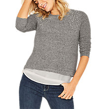Buy Oasis Pearl Shoulder Cosy Top, Pale Grey Online at johnlewis.com