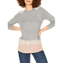 Buy Oasis Lace Insert Top, Pale Grey Online at johnlewis.com