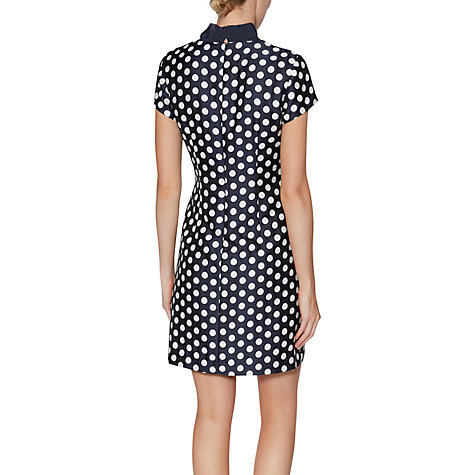 Buy Gina Bacconi Joy Spotted Jacquard Dress, Navy/White Online at johnlewis.com