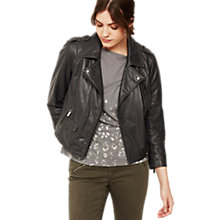 Buy Mint Velvet Cropped Biker Jacket, Dark Grey Online at johnlewis.com