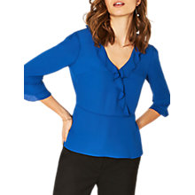 Buy Oasis Frilly Wrap Tea Top, Rich Blue Online at johnlewis.com