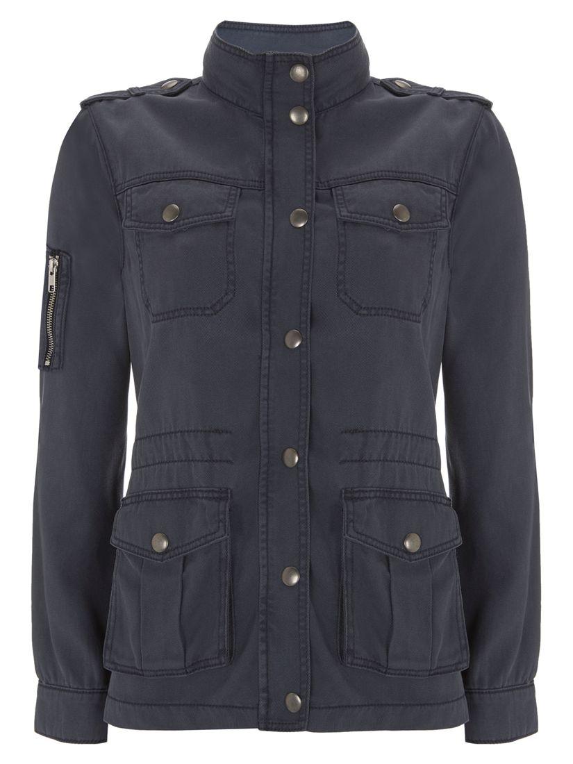 370865623ef6c Mint Velvet Washed Indigo Four Pocket Jacket, Blue at John Lewis & Partners