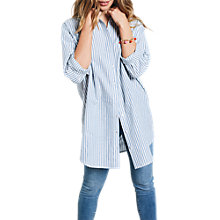 Buy hush Striped Metallic Boyfriend Shirt, Blue/White Online at johnlewis.com