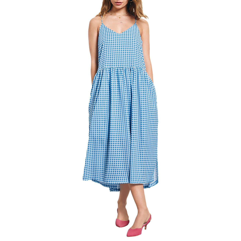 hush Tori Gingham Dress, French Blue/White at John Lewis