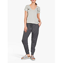 Buy hush Metallic Star T-Shirt, Light Grey Marl/Metallic Silver Online at johnlewis.com