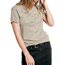 Buy hush Diamond Short Sleeve T-Shirt, Limestone/Gold Online at johnlewis.com