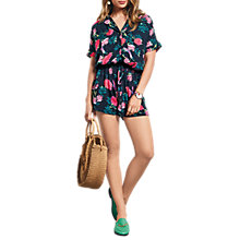 Buy hush Short Sleeve Ornate Print Playsuit, Midnight Online at johnlewis.com