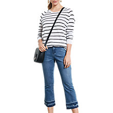 Buy hush Striped Linen Boyfriend Jumper, Black/White Online at johnlewis.com