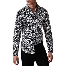 Buy Reiss Camberwell Floral Slim Fit Shirt, Black Online at johnlewis.com