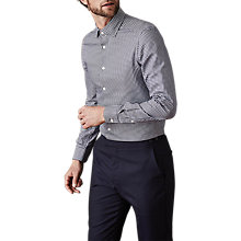 Buy Reiss Hound Houndstooth Check Slim Fit Shirt, Navy Online at johnlewis.com