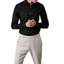 Buy Reiss Perdu Cotton Slim Fit Shirt, Black Online at johnlewis.com