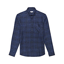 Buy Reiss Zaki Check Linen Regular Fit Shirt, Blue Online at johnlewis.com