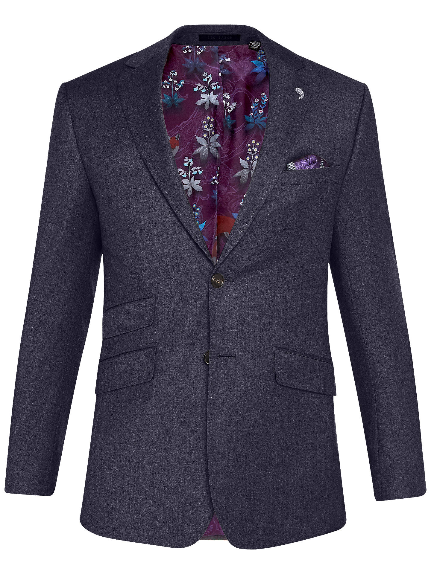 Buy Ted Baker Caspiaj Sterling Wool Flannel Tailored Suit Jacket, Navy, 44R Online at johnlewis.com