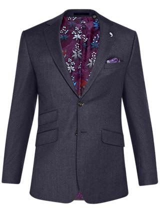 Ted Baker Caspiaj Sterling Wool Flannel Tailored Suit Jacket, Navy