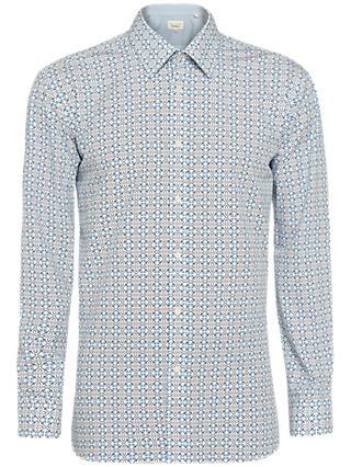Ted Baker Lolop Multi Tile Print Tailored Fit Shirt, Blue