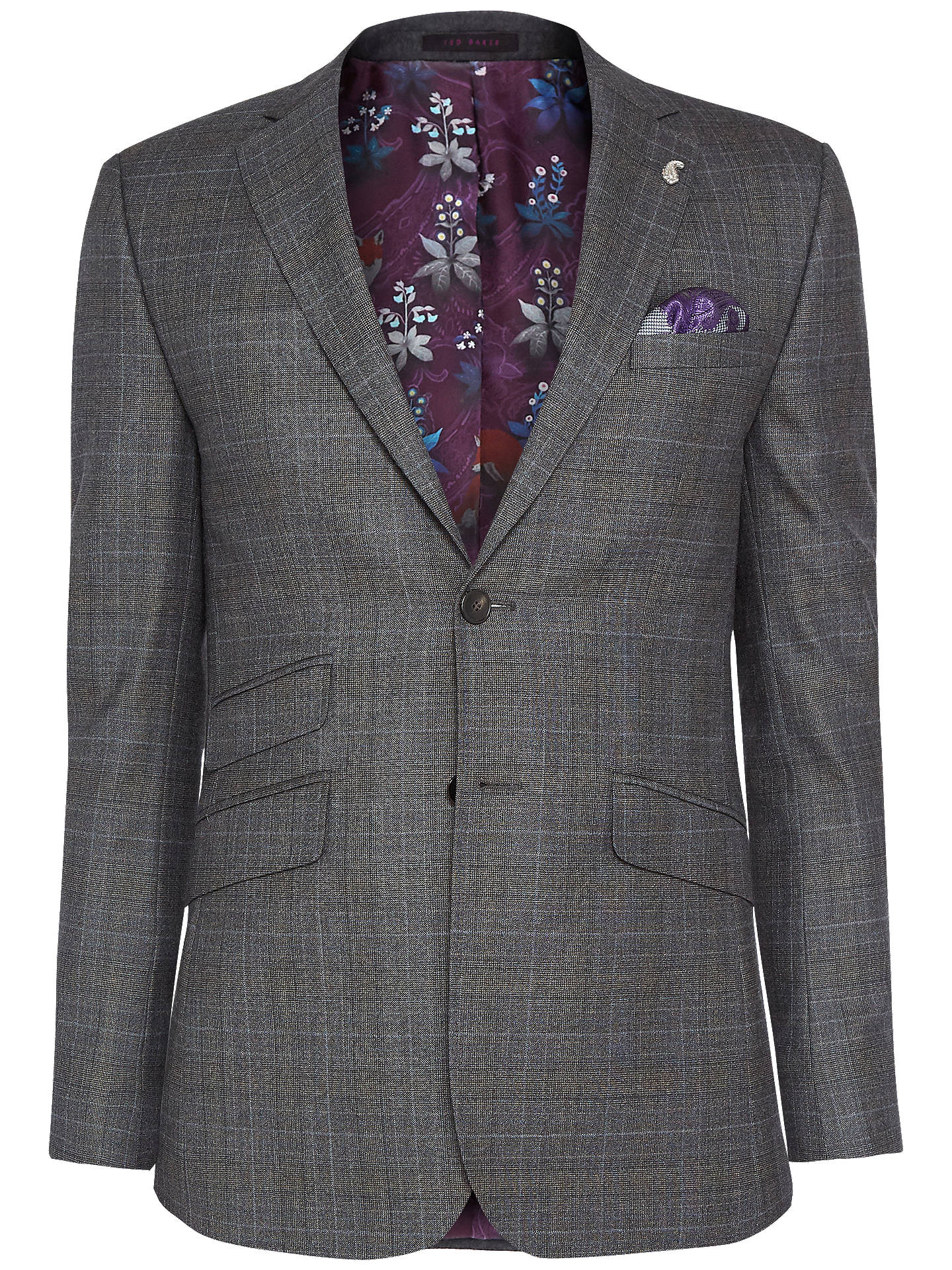 Buy Ted Baker Doverrj Sterling Check Tailored Suit Jacket, Charcoal, 38S Online at johnlewis.com