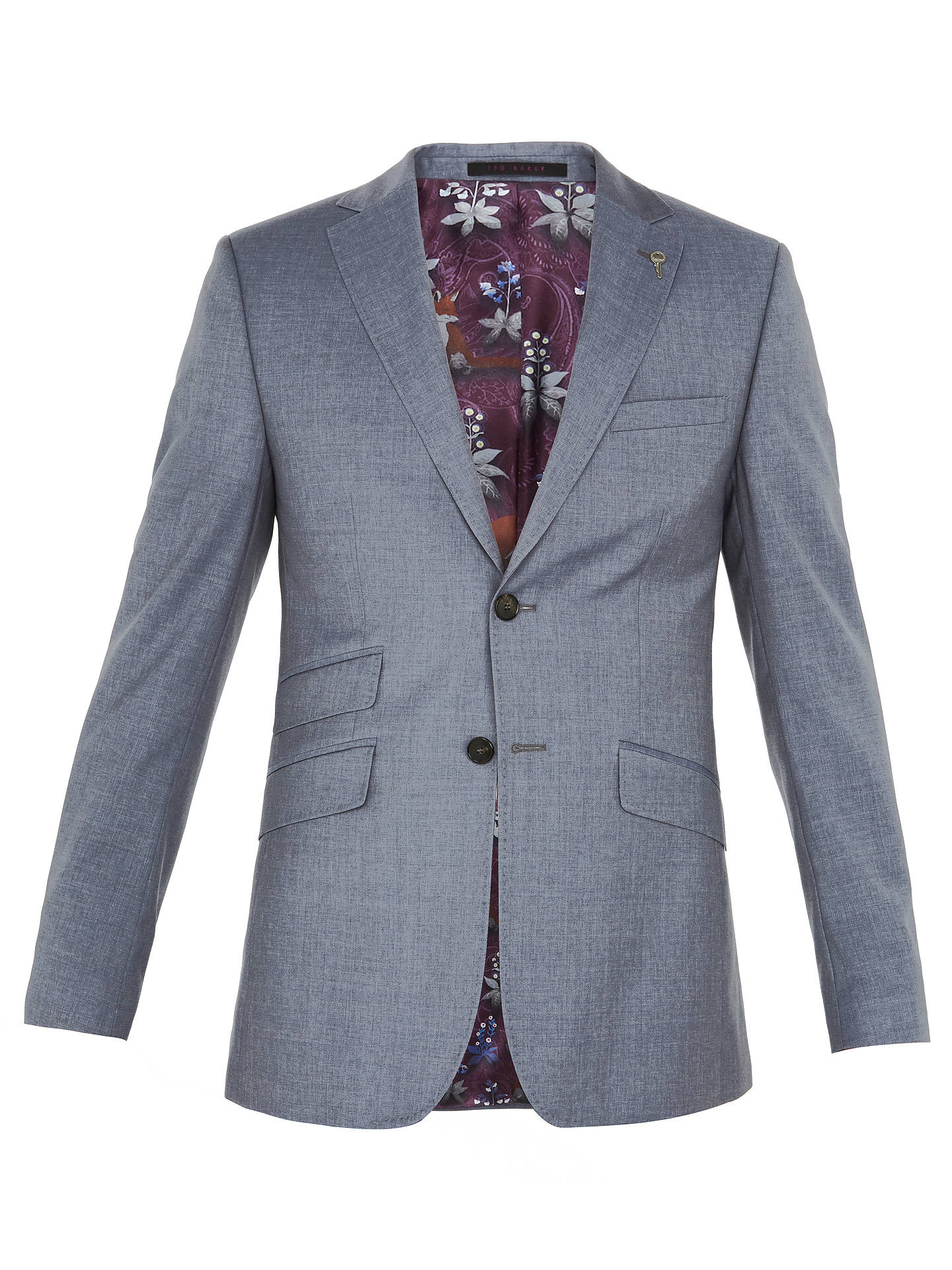 BuyTed Baker Tenetoj Sterling Plain Wool Tailored Suit Jacket, Light Blue, 38S Online at johnlewis.com