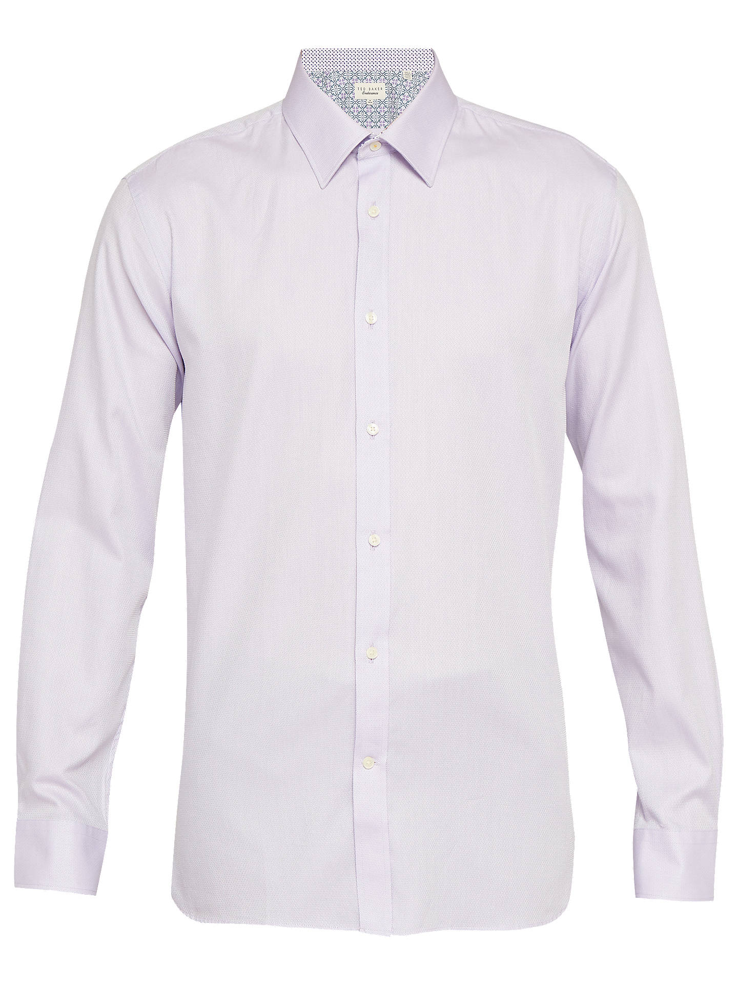 BuyTed Baker Happs Diamond Dobby Tailored Fit Shirt, Lilac, 15.5 Online at johnlewis.com