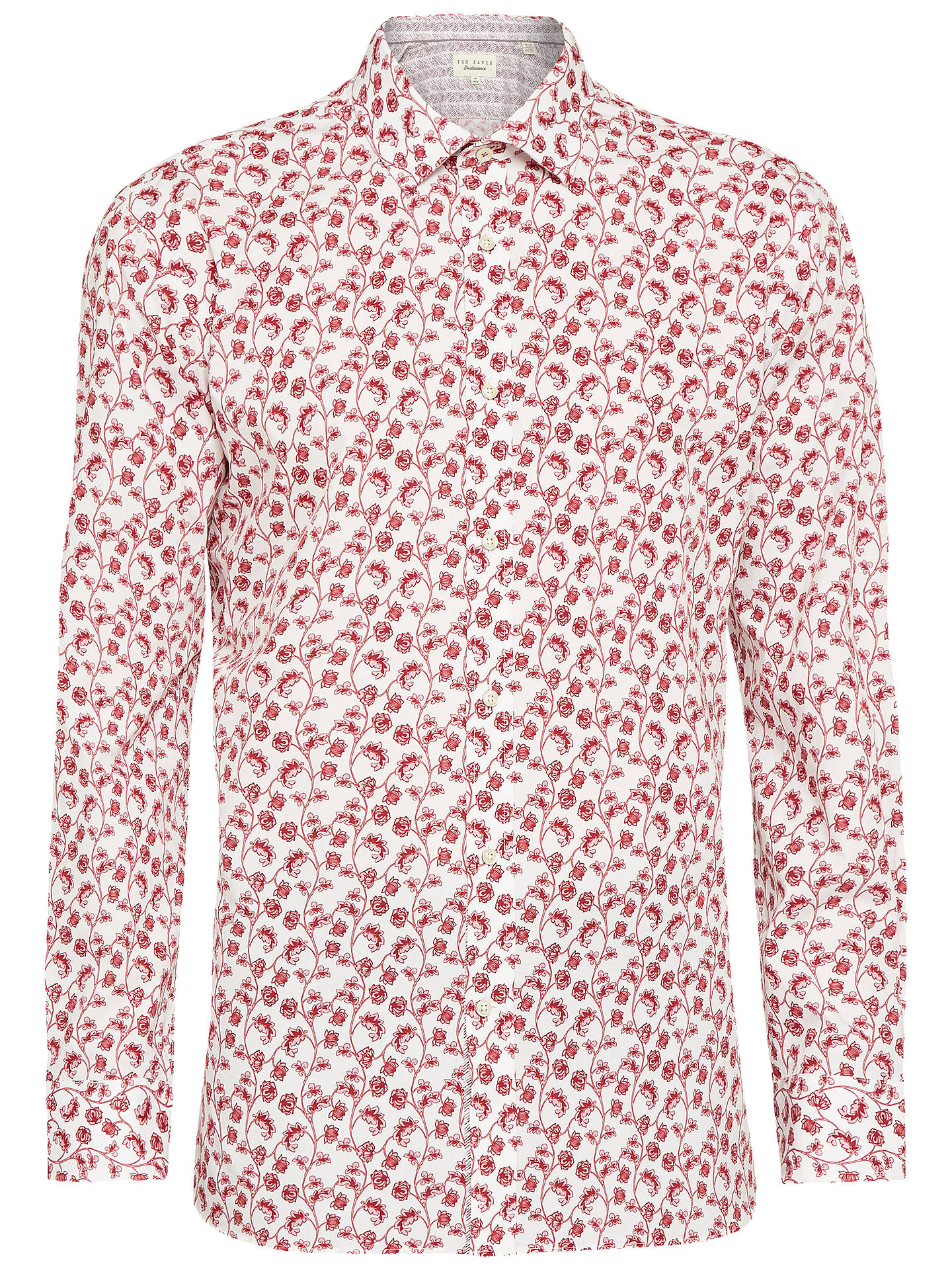 BuyTed Baker Greck Floral Tailored Fit Shirt, Pink, 15.5 Online at johnlewis.com