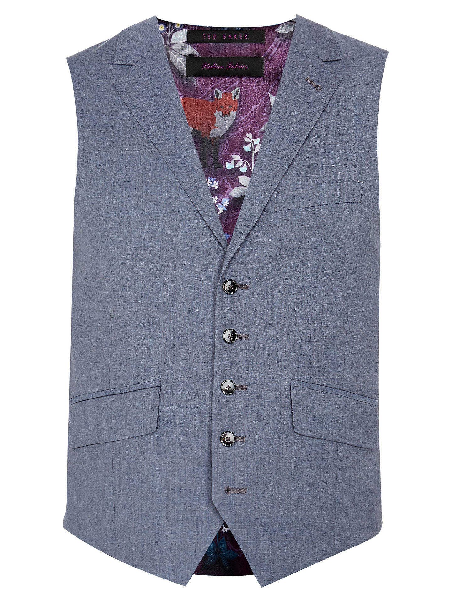 Buy Ted Baker Tenetow Sterling Plain Wool Tailored Waistcoat, Light Blue, 38R Online at johnlewis.com