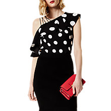 Buy Karen Millen Polka Dot One Shoulder Crepe Top, Black/White Online at johnlewis.com