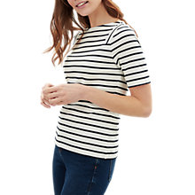 Buy Jaeger Slash Neck Short Sleeved Stripe Top, Ivory Online at johnlewis.com