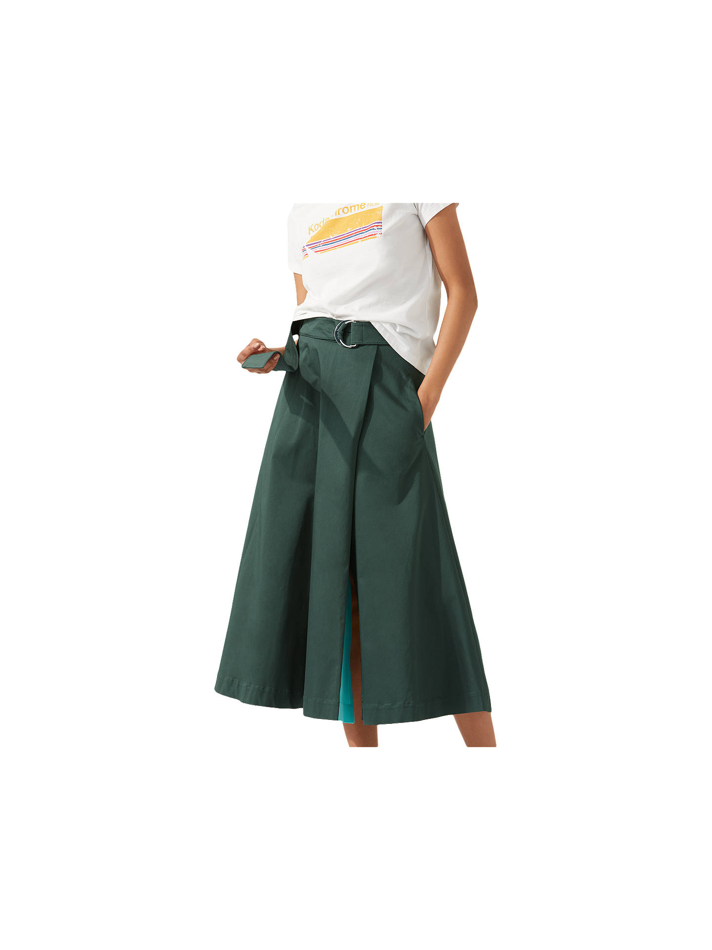 f4f5eb274 Buy Jigsaw Cotton Sateen Midi Skirt, Racer Green, 6 Online at johnlewis.com  ...