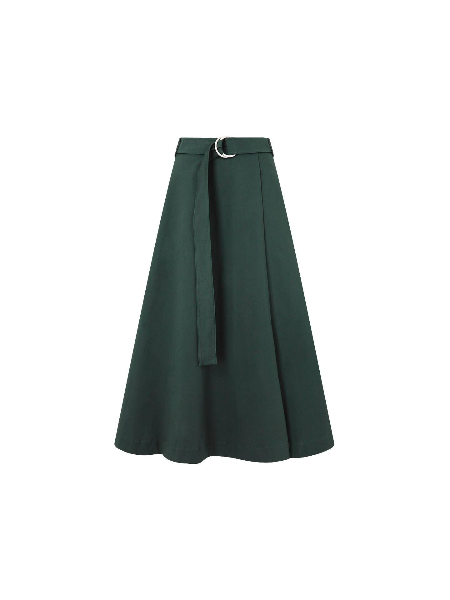 43de815a0 ... Buy Jigsaw Cotton Sateen Midi Skirt, Racer Green, 6 Online at  johnlewis.com ...