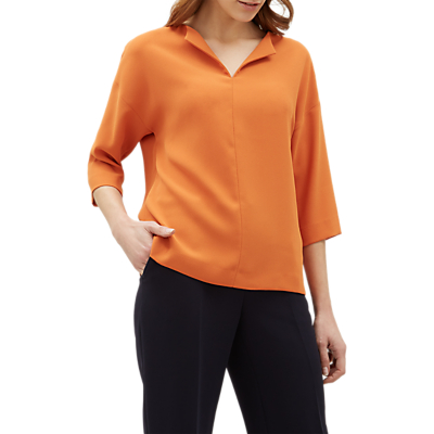 Jaeger Boxy Crepe Top, Orange