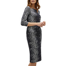 Buy Jaeger Speckle Print Side Gathered Jersey Dress, Navy Online at johnlewis.com
