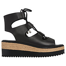 Buy Whistles Ghille Tie Flatform Sandals, Black Leather Online at johnlewis.com