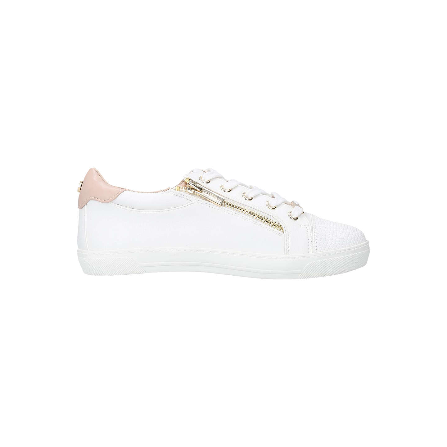 BuyCarvela Jagged Lace Up Trainers, White, 3 Online at johnlewis.com ...