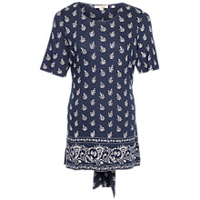 Buy Fat Face Bronte Woodblock Paisley Top, Navy Online at johnlewis.com