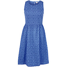 Buy Fat Face Karen Indigo Geo Embroidered Dress, Azure Online at johnlewis.com