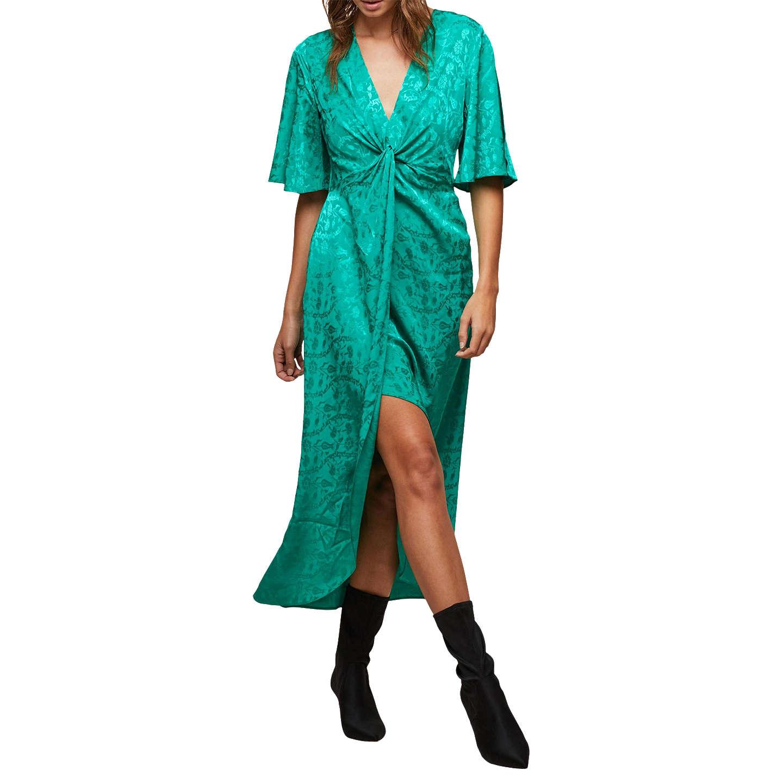 Miss Selfridge Jacquard Midi Dress, Fluorescent Green at John Lewis