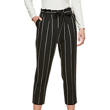 Buy Miss Selfridge Petite Striped Paperbag Trousers, Black/White Online at johnlewis.com