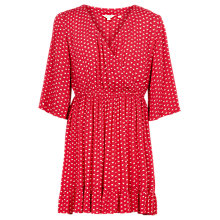 Buy Fat Face Abigail Fleur Geometric Print Dress, Tomato Red Online at johnlewis.com