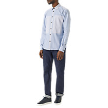 Buy Jigsaw Slim Fit Patchwork Stripe Shirt, Blue Online at johnlewis.com