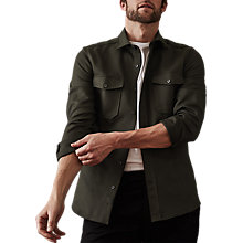 Buy Reiss Ambros Overshirt, Forest Green Online at johnlewis.com