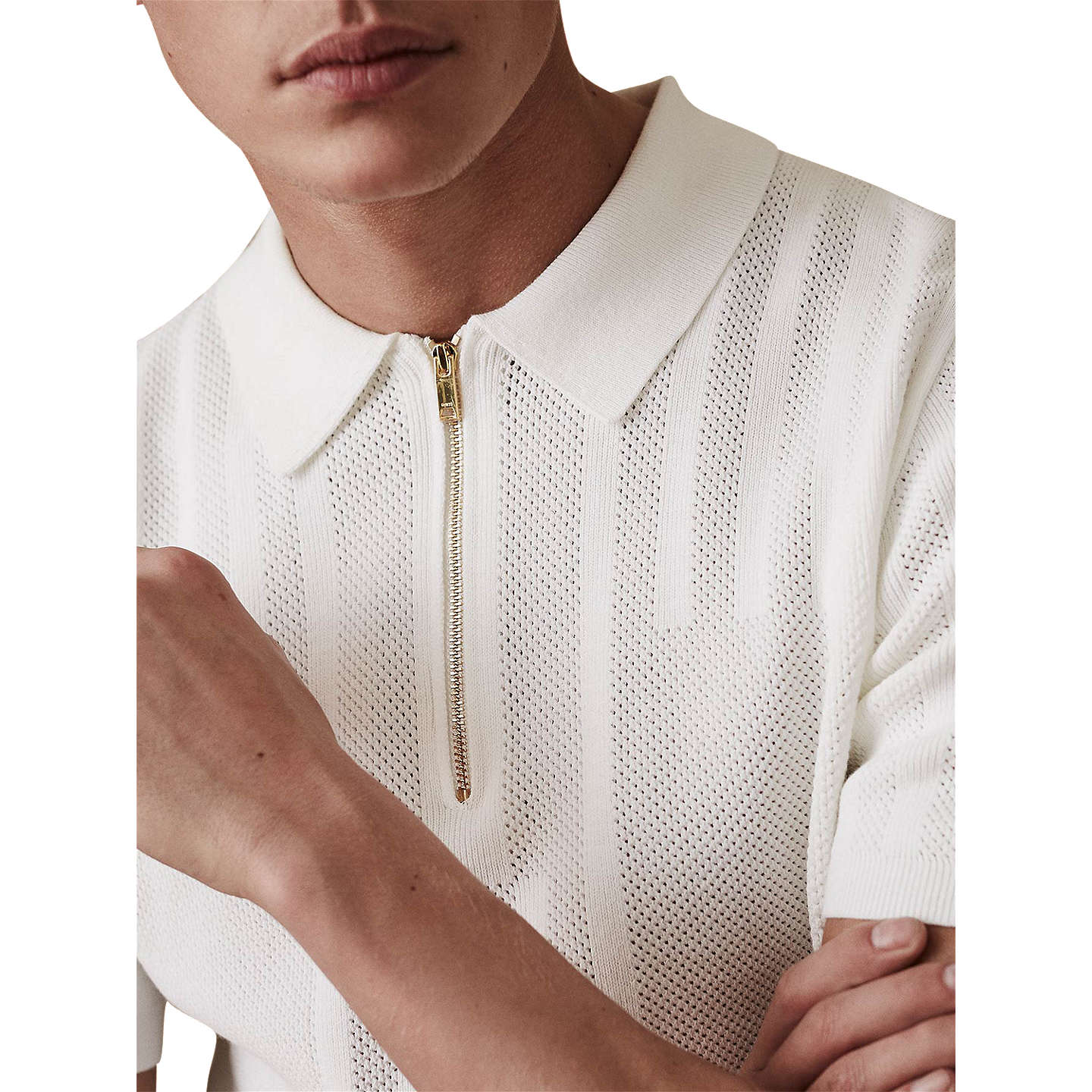 BuyReiss Reddington Textured Polo Shirt, Ecru, S Online at johnlewis.com