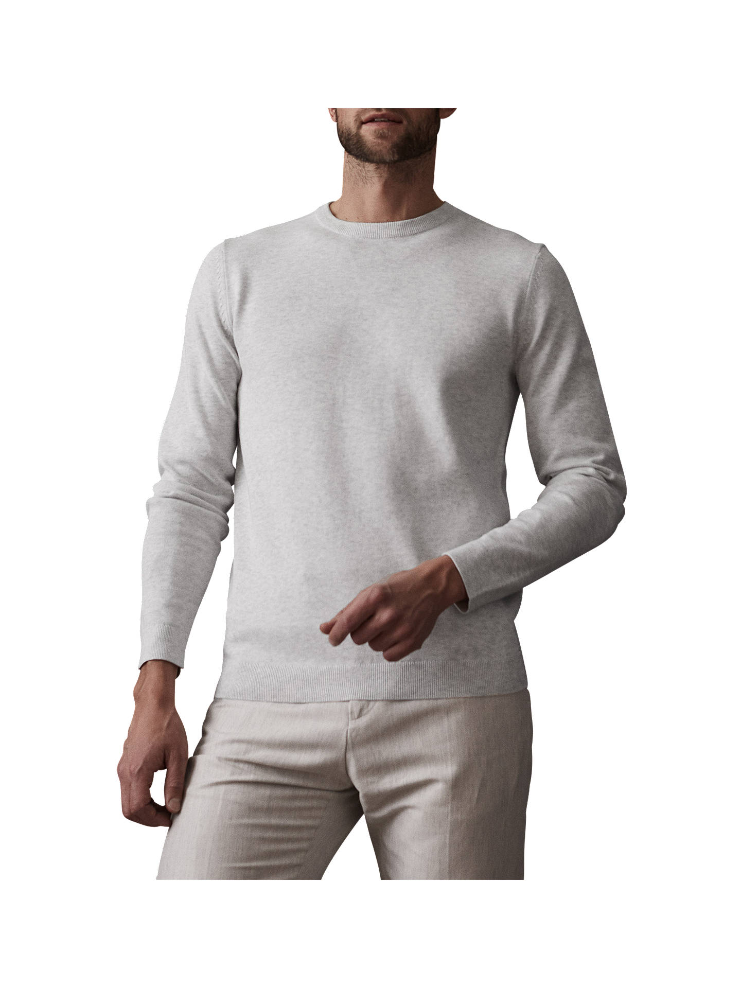 BuyReiss Maurice Crew Neck Jumper, Soft Grey, S Online at johnlewis.com