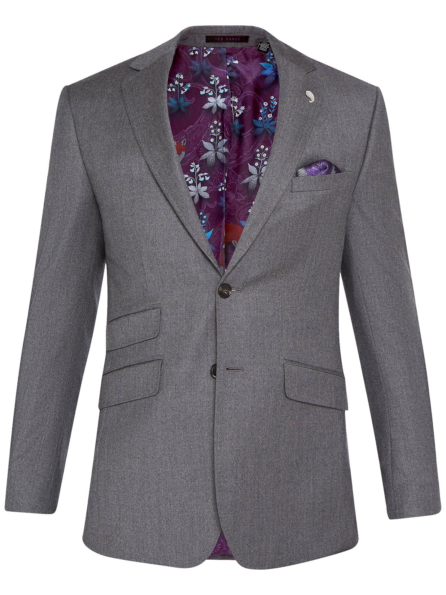 Buy Ted Baker Caspiaj Sterling Wool Flannel Tailored Suit Jacket, Charcoal, 38S Online at johnlewis.com