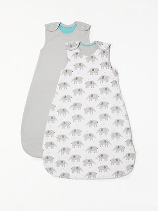 John Lewis & Partners Baby Elephant Print Sleep Bag, Pack of 2, 2.5 Tog, Grey