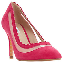 Buy Dune Britania Scallop Court Shoes, Pink Suede Online at johnlewis.com