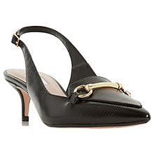 Buy Dune Chile Reptile Slingback Court Shoes, Black Leather Online at johnlewis.com