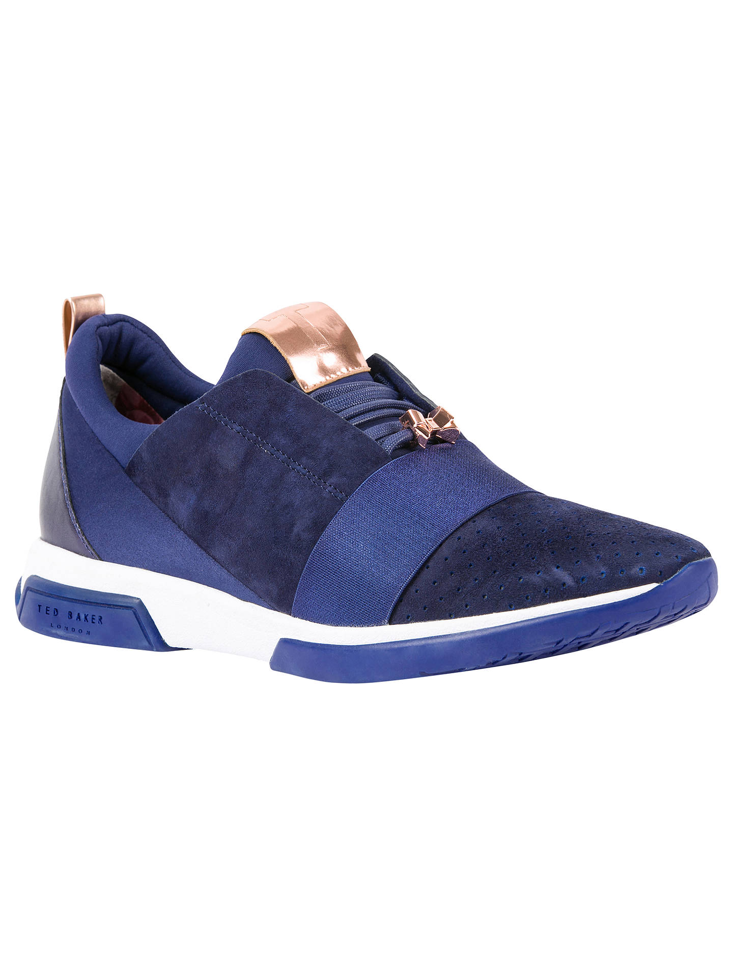 Buy Ted Baker Cepap Lace Up Trainers, Navy Suede, 4 Online at johnlewis.com