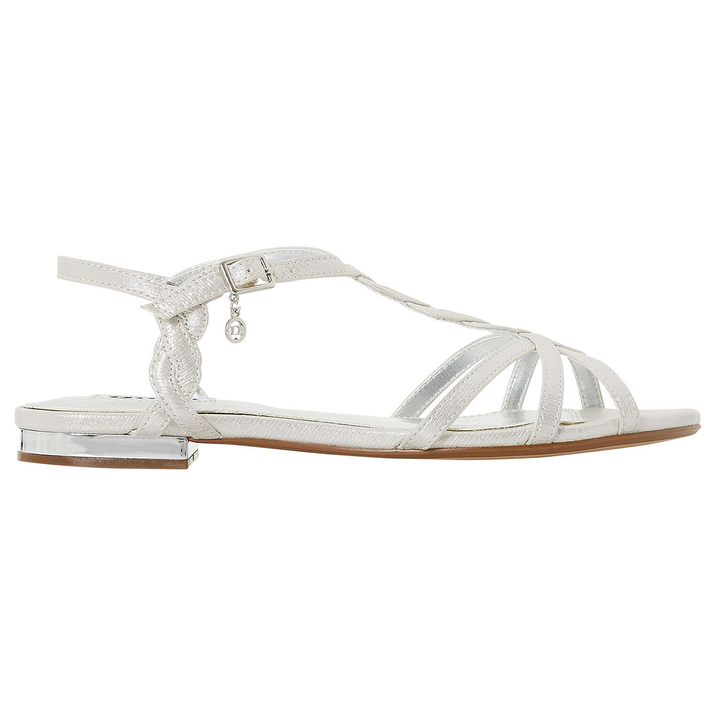 BuyDune Newark Strappy Flat Sandals, Silver, 3 Online at johnlewis.com