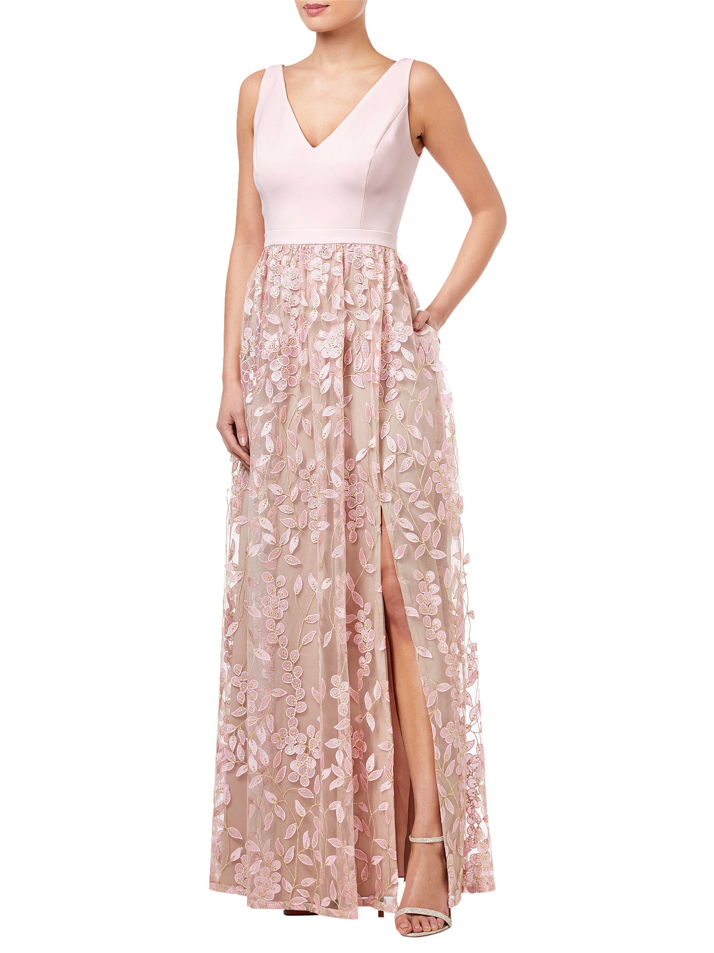 0283db6b9f Buy Adrianna Papell Embellished Tulle Dress, Satin Blush, 8 Online at  johnlewis.com ...